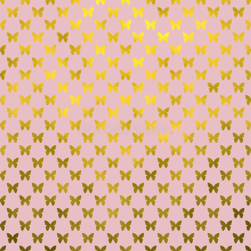 Fond de Dot Metallic Faux Foil Pink de polka de papillons d'or illustration stock