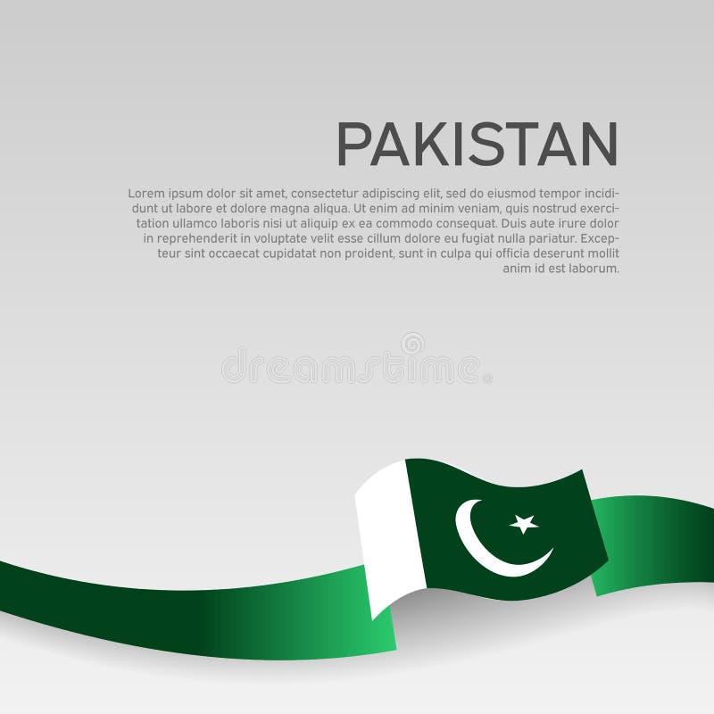 Fond de drapeau du Pakistan Drapeau onduleux de couleurs de ruban du Pakistan sur le fond blanc Affiche nationale Illustration de illustration de vecteur