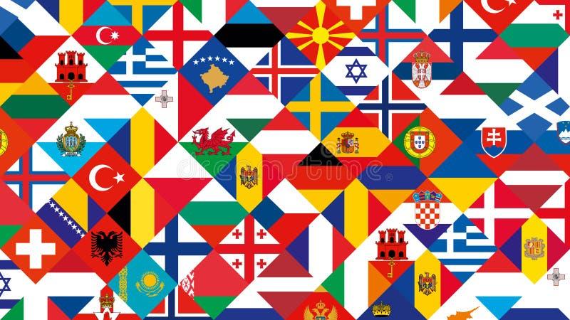 Fond de drapeau de participations de ligue de nations, pays européen illustration stock