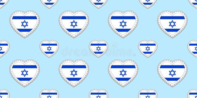 Fond de drapeaux de l'Israël Modèle sans couture de drapeau israélien ?tiquettes lustr?es blanc de vecteur Symboles de coeurs d'a illustration stock