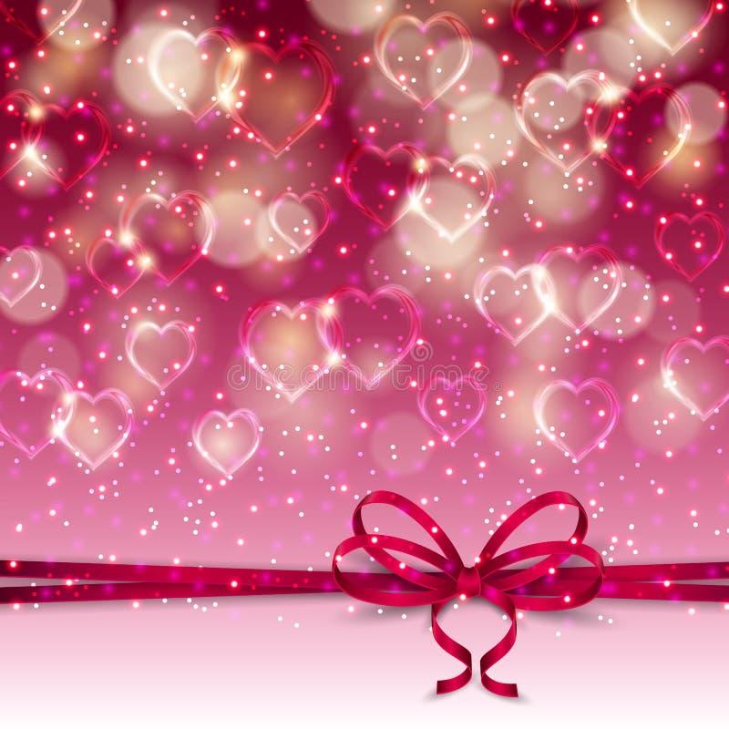 Fond de fête avec des coeurs, bokeh illustration stock