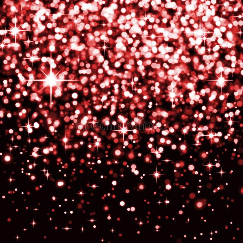 Fond de fête avec les particules brillantes rouges, confettis, lumières, effet de la lumière, cercles, lumières, scintillement, é illustration stock