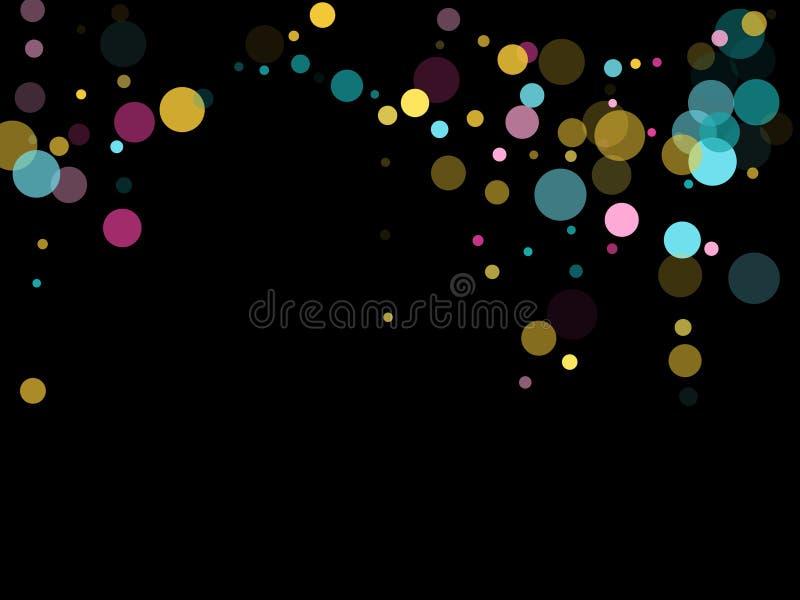 Fond de fête de confettis ronds de Memphis dans bleu, rose cyan et jaune Vecteur puéril de modèle illustration de vecteur