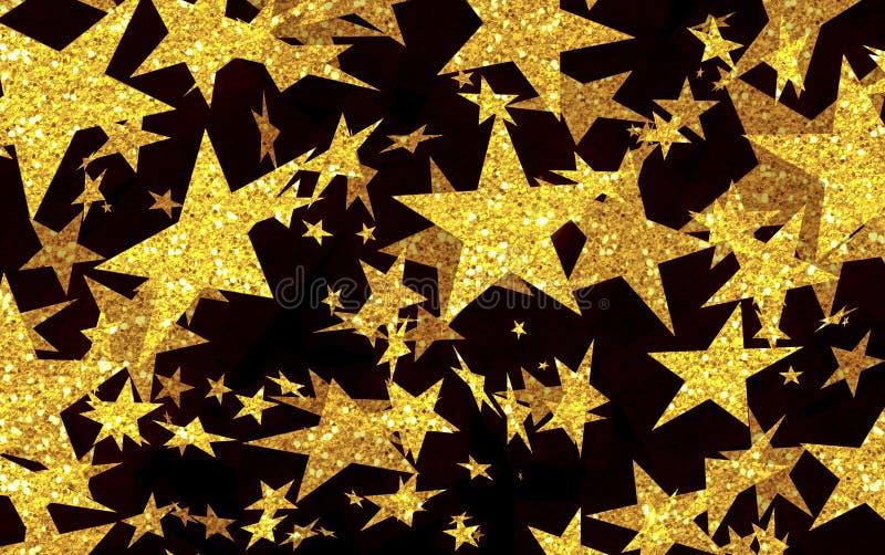 Fond de fête des étoiles d'or, pluie d'étoile, étoiles filantes, nuit, jaune, noir, disco, amusement, vacances, musique, festival illustration libre de droits