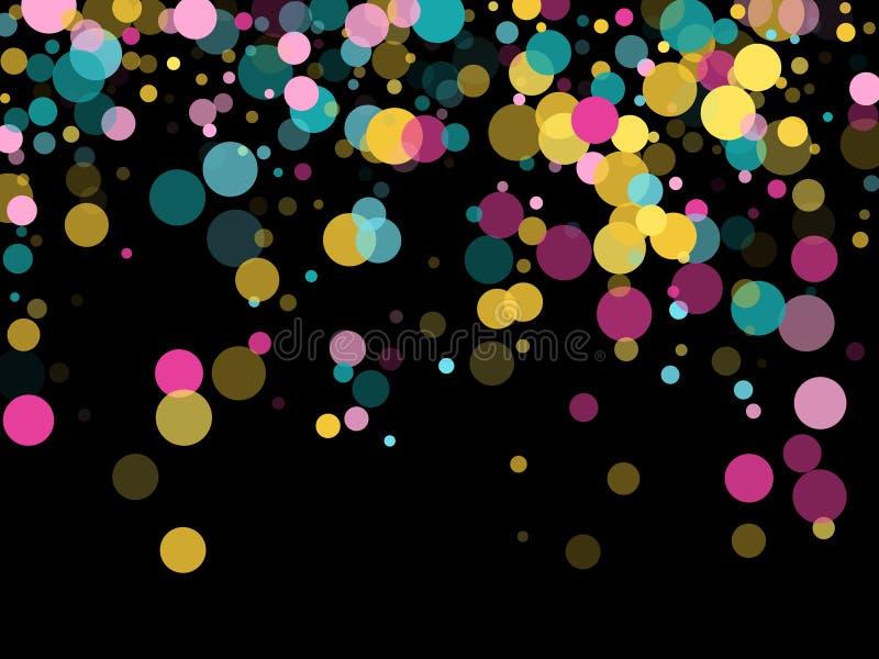 Fond de f?te de confettis ronds de Memphis dans bleu, rose cyan et jaune Vecteur pu?ril de mod?le illustration libre de droits