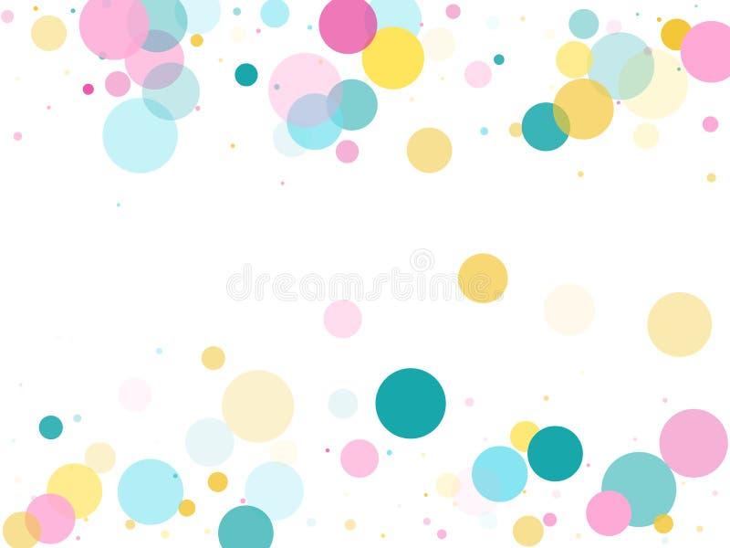 Fond de f?te de confettis ronds de Memphis dans bleu, rose cyan et jaune Vecteur pu?ril de mod?le illustration stock