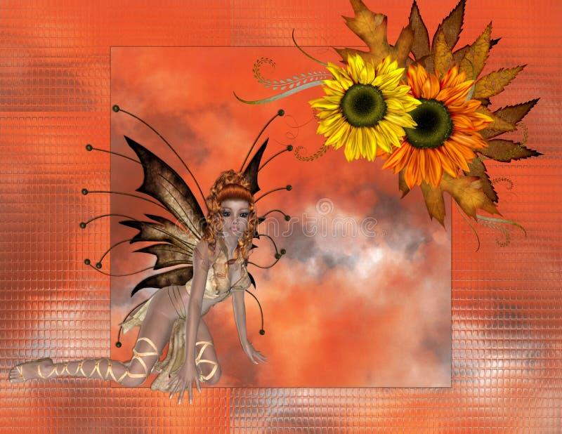 Fond de Fae de tournesol de saison d'automne illustration de vecteur