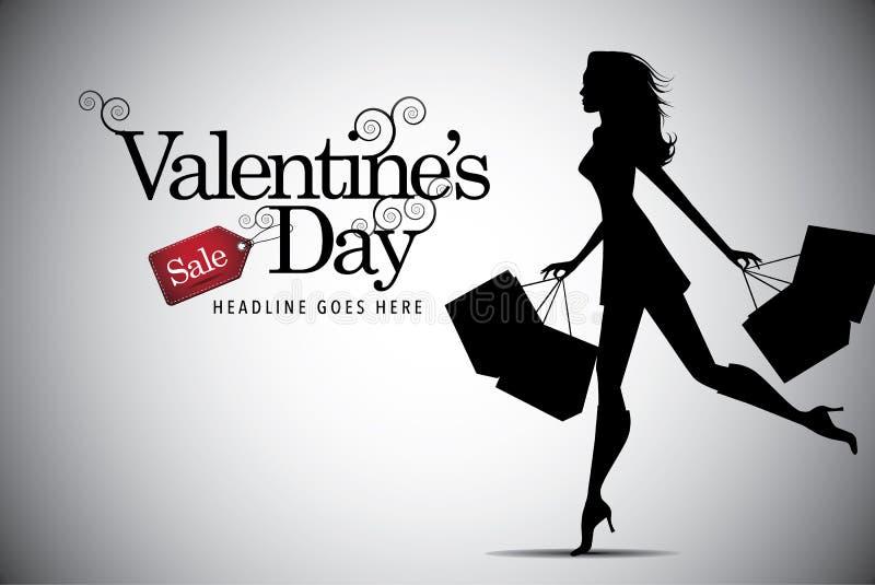 Fond de femme d'achats de vente de jour de valentines illustration de vecteur