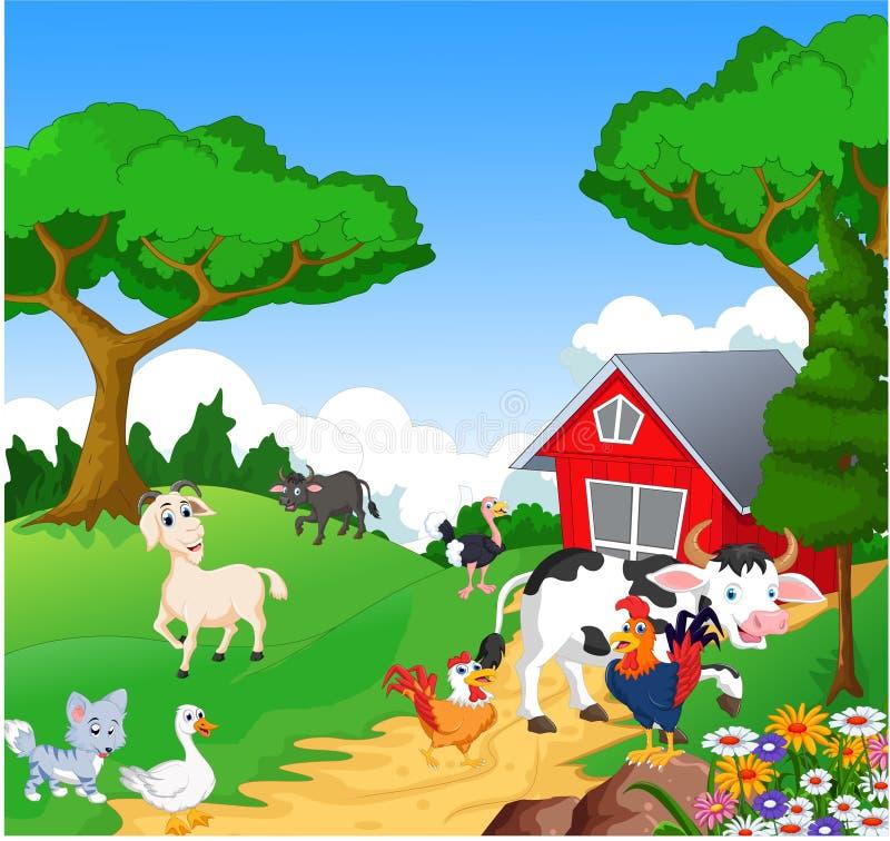 Fond de ferme avec des animaux illustration stock