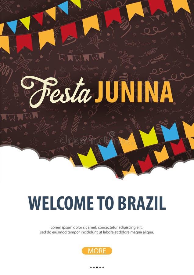 Fond de Festa Junina avec des éléments de griffonnage d'aspiration de main et des drapeaux de partie Le Brésil ou les vacances la illustration de vecteur