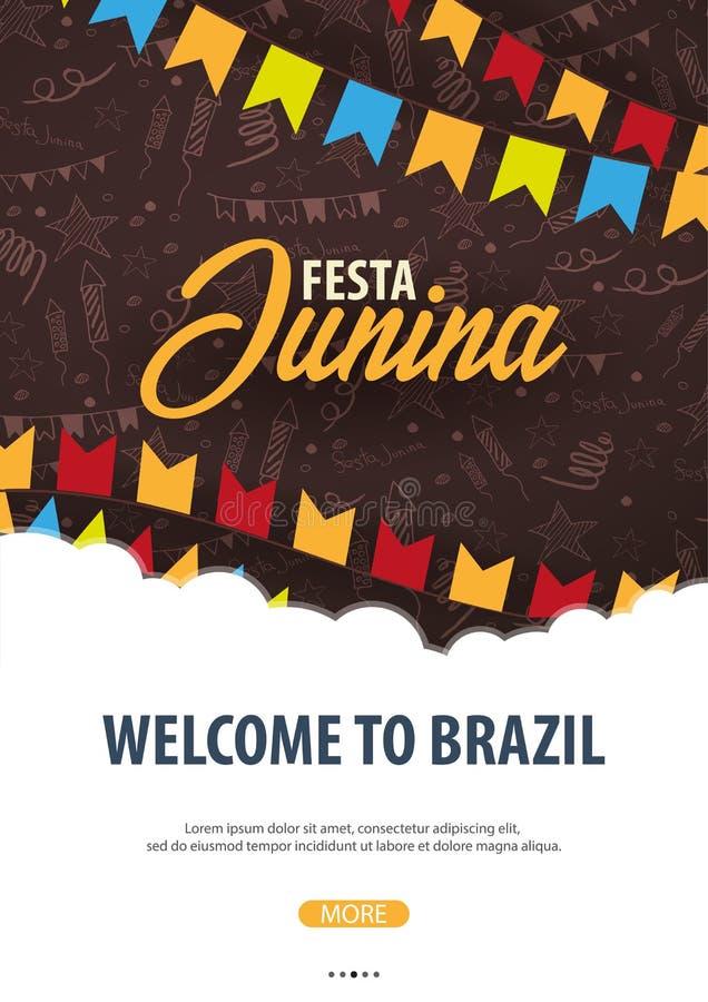 Fond de Festa Junina avec des éléments de griffonnage d'aspiration de main et des drapeaux de partie Le Brésil ou les vacances la illustration stock