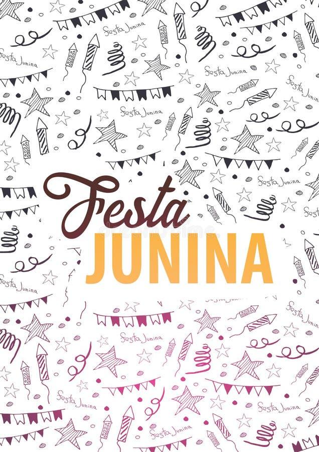 Fond de Festa Junina avec des éléments de griffonnage d'aspiration de main Le Brésil ou les vacances latino-américaines Illustrat illustration de vecteur