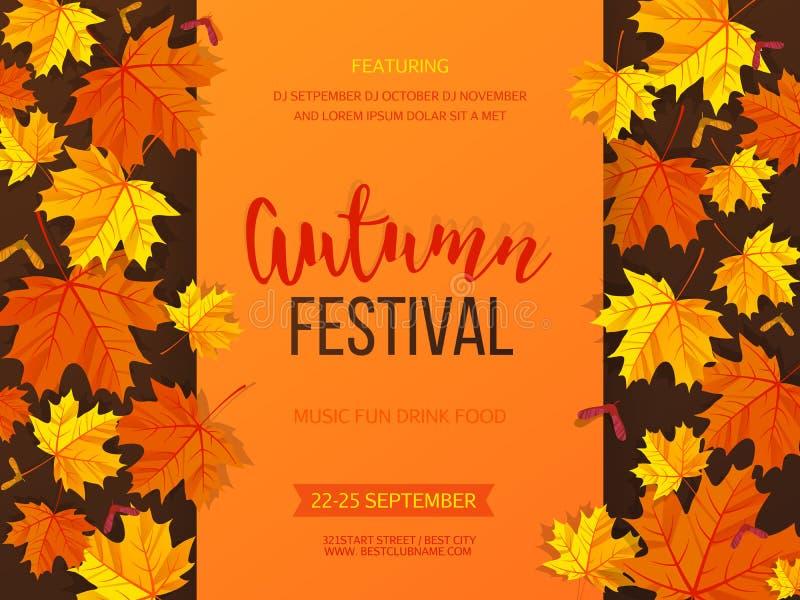 Fond de festival d'automne Bannière d'invitation avec des feuilles de chute Illustration de vecteur illustration stock