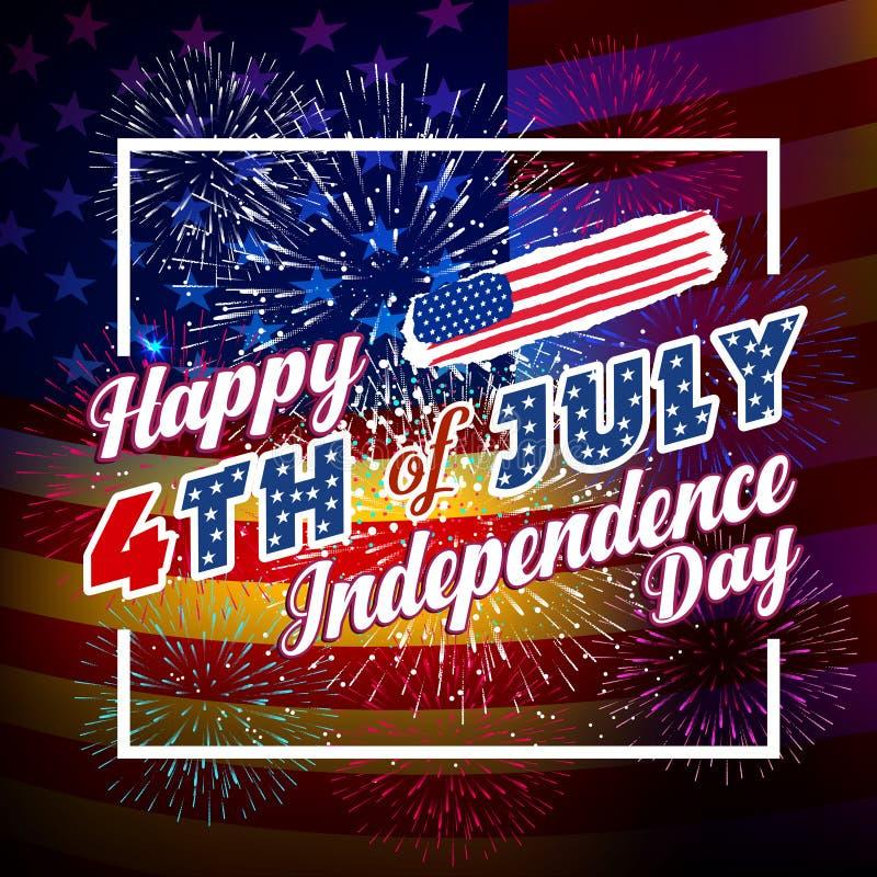 Fond de feux d'artifice pour le Jour de la Déclaration d'Indépendance des Etats-Unis Le quatrième de juillet célèbrent illustration stock