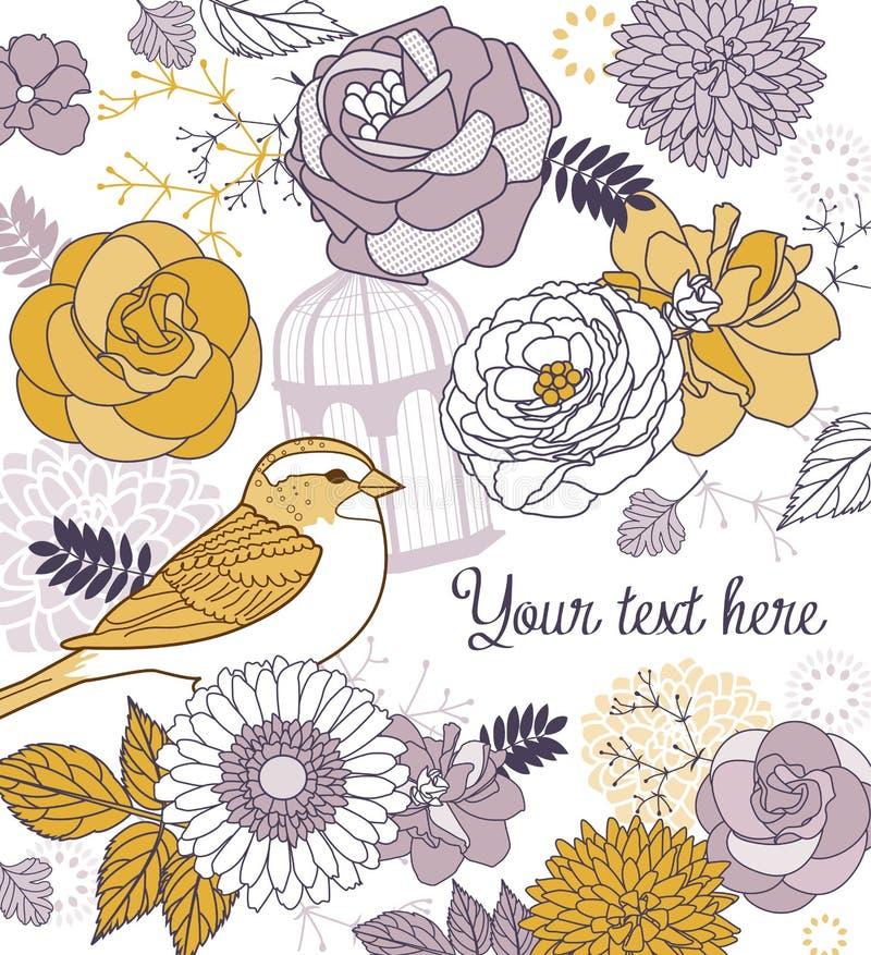 Fond de fleur et d'oiseau illustration libre de droits