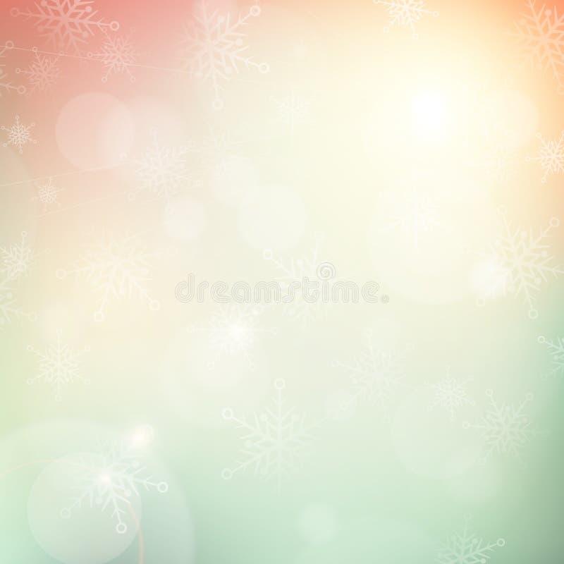 Fond de flocon de neige de lumière de bokeh d'hiver de Noël illustration de vecteur