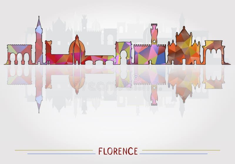 Fond de Florence City avec la silhouette de paysage urbain illustration de vecteur