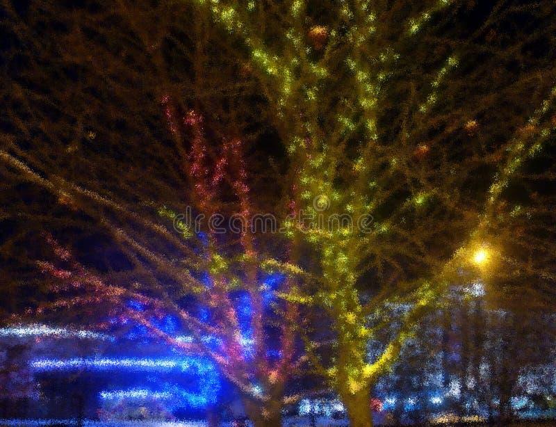 Fond de flou Ville de nuit Arbre enlacé avec les guirlandes colorées images libres de droits