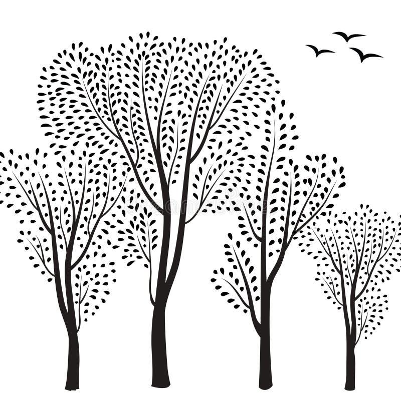 Fond de forêt Arbres avec la carte de feuilles Carte de voeux florale illustration stock