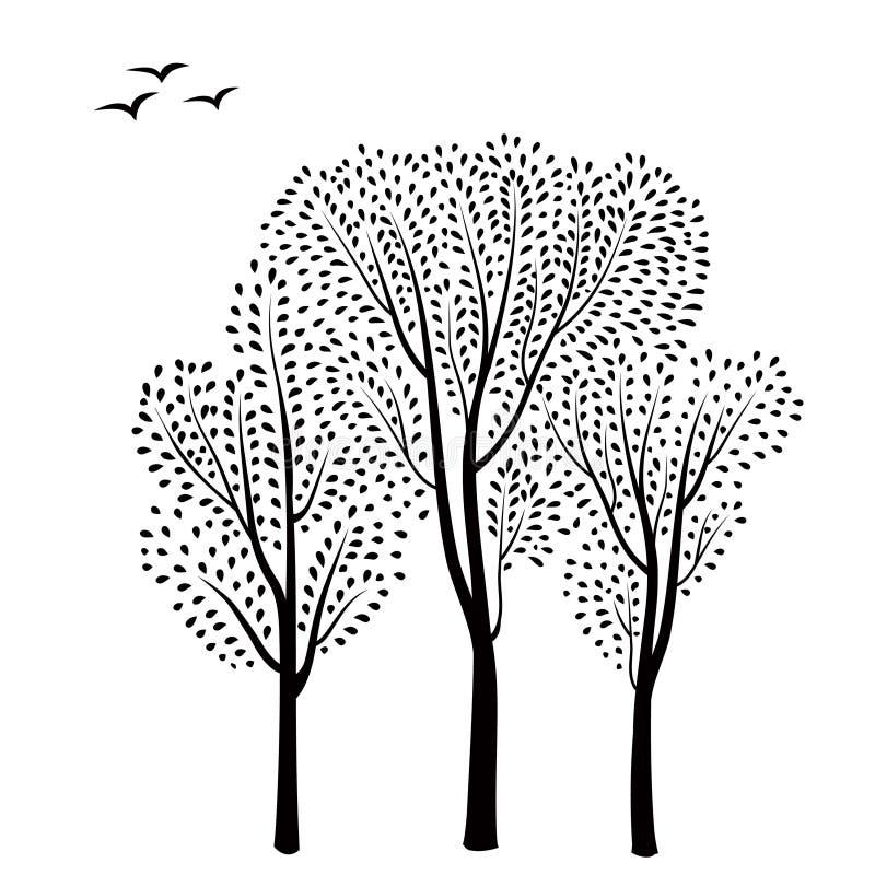 Fond de forêt Arbres avec la carte de feuilles Carte de voeux florale illustration de vecteur