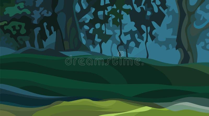Fond de forêt dense d'été d'abrégé sur bande dessinée avec des monticules illustration de vecteur