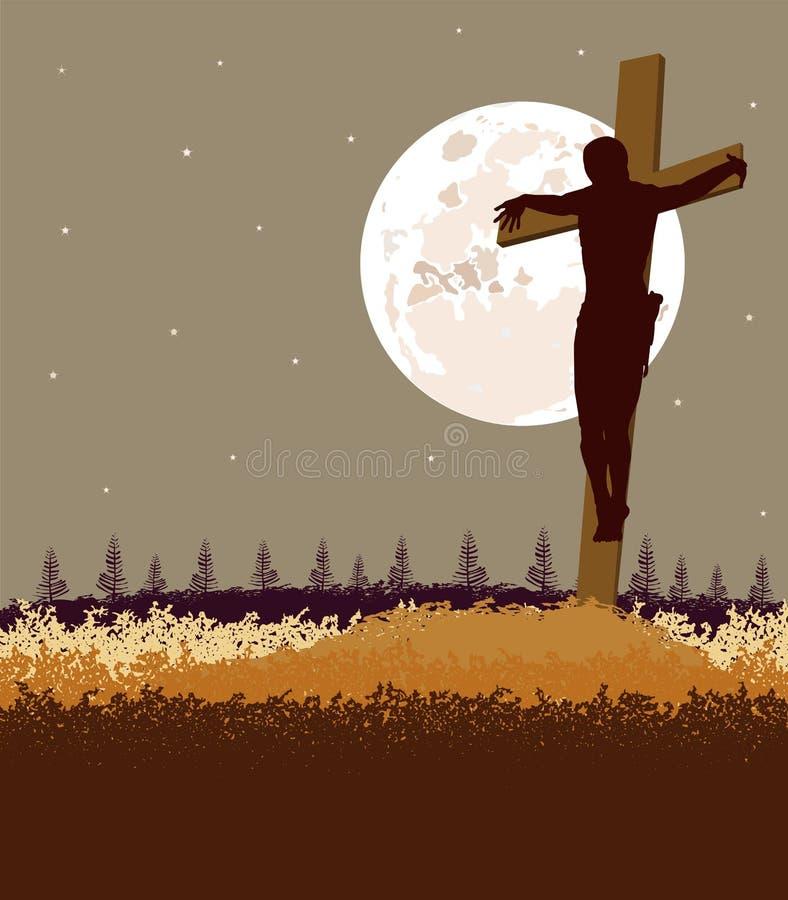 Fond de fromt de Jésus la croix illustration de vecteur