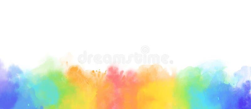 Fond de frontière d'aquarelle d'arc-en-ciel d'isolement sur le blanc illustration libre de droits