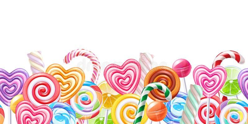 Fond de frontière de sucrerie de lucettes Bonbons durs sur le bâton illustration stock