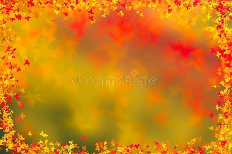 Fond de frontière de feuilles d'automne Concept de thanksgiving photographie stock libre de droits
