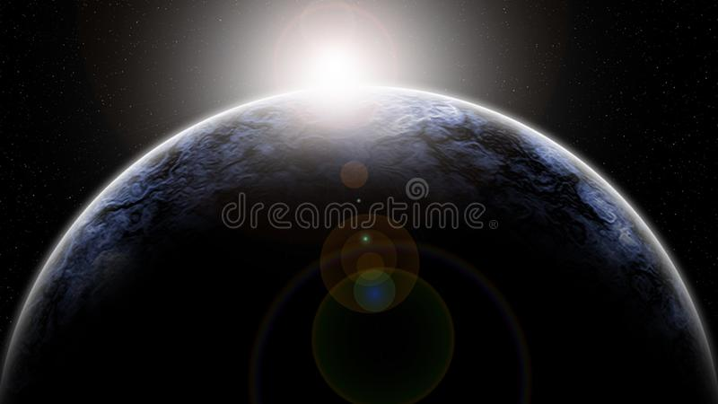 Fond de galaxie d'abrégé sur peinture de Digital - aube sur un horizon planétaire dans l'espace lointain illustration de vecteur