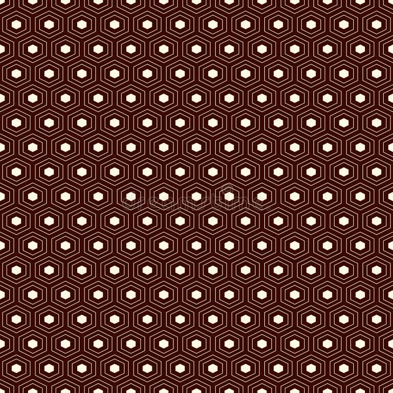 Fond de grille de nid d'abeilles Papier peint d'hexagone répété par contour Modèle extérieur sans couture avec l'ornement géométr illustration de vecteur