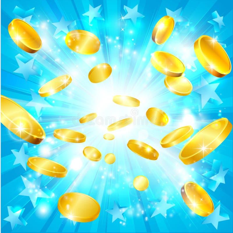 Fond de gros lot de pièces d'or et d'étoiles d'argent illustration de vecteur