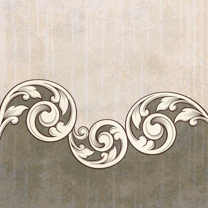 Fond de grunge de configuration de gravure de défilement de cru illustration de vecteur