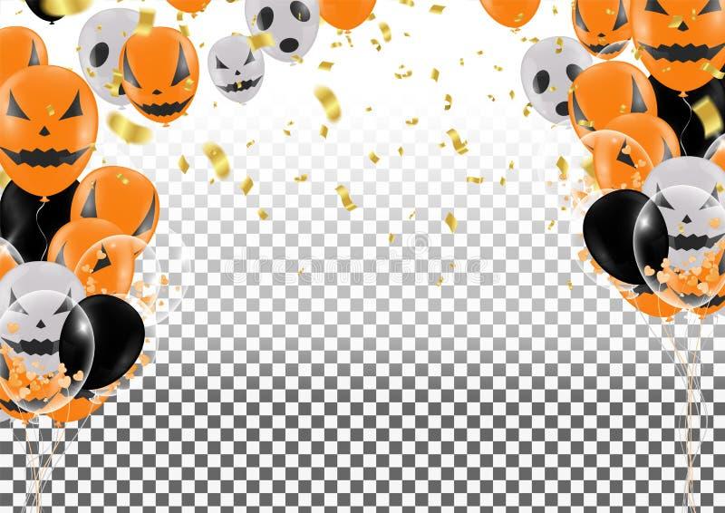 Fond de Halloween avec des ballons de Halloween Ghost BAL effrayant d'air illustration libre de droits