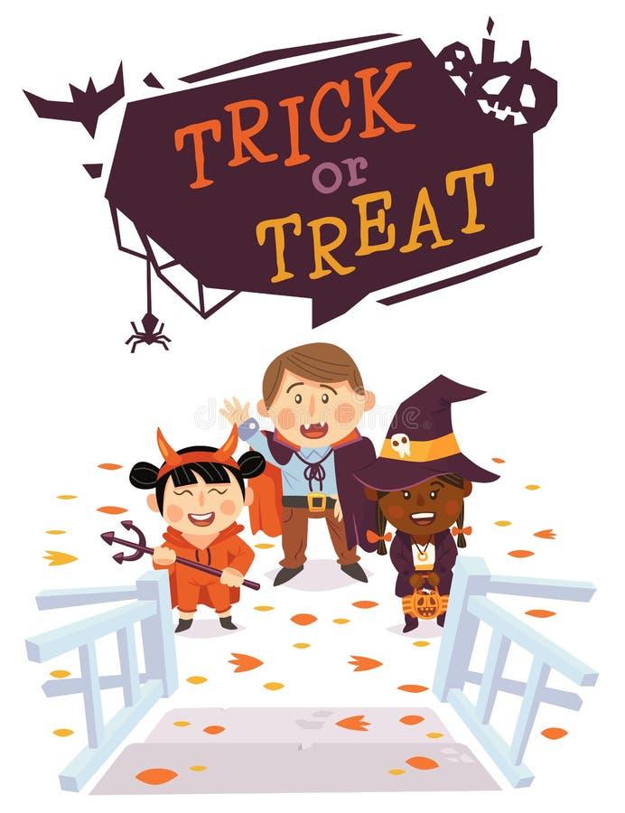 Fond de Halloween avec des enfants dans des costumes de Halloween Tour ou festin illustration libre de droits