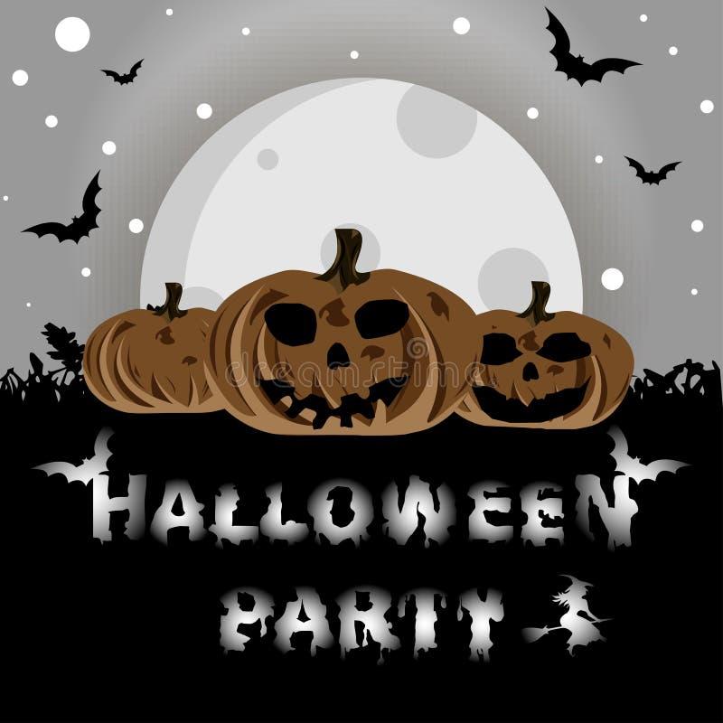 Fond de Halloween avec des potirons sur l'herbe, élément pour la conception, illustration de vecteur