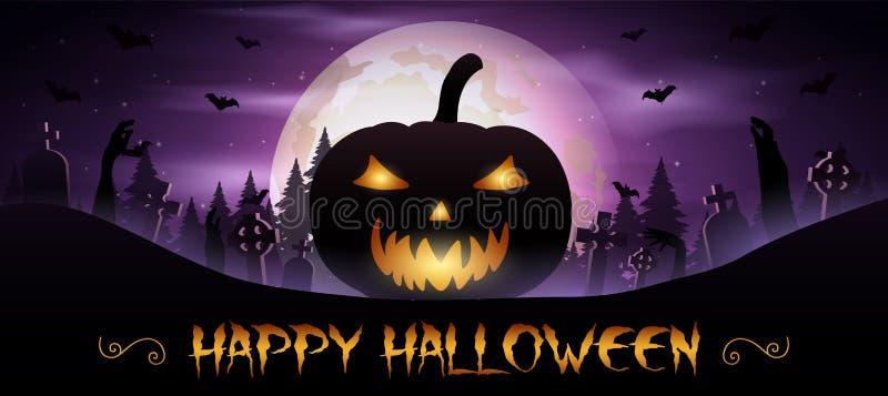 Fond de Halloween avec des potirons sur le cimetière illustration de vecteur