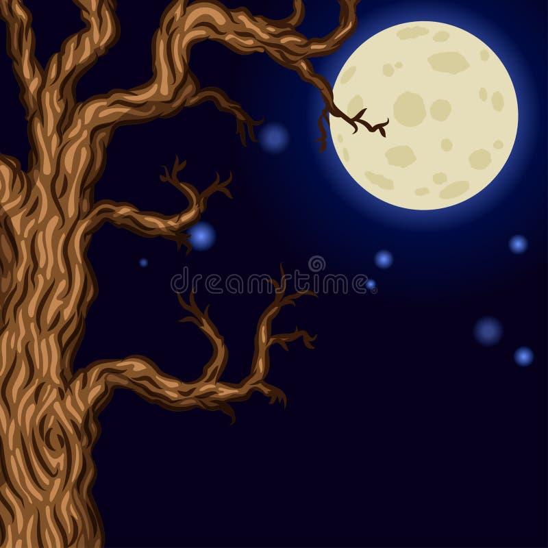 Fond de Halloween avec des silhouettes des arbres de Halloween illustration libre de droits