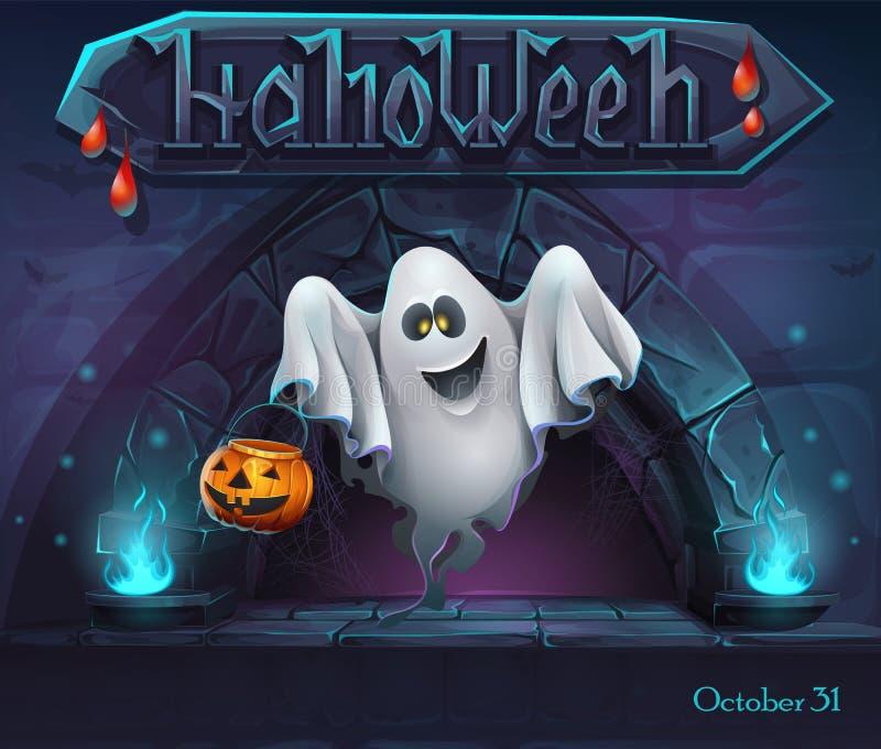 Fond de Halloween avec Ghost avec le potiron illustration stock