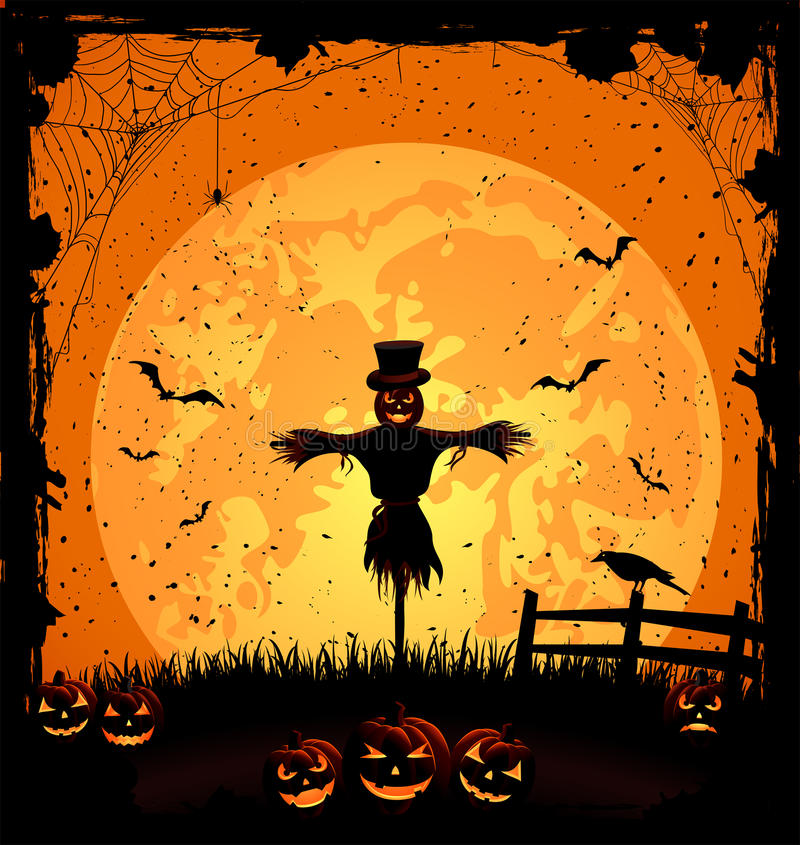 Fond de Halloween avec l'épouvantail illustration stock