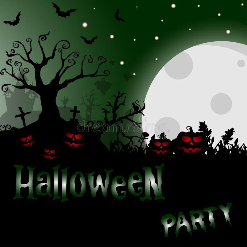 Fond de Halloween avec l'arbre et les potirons rampants, sur le fond illustration de vecteur
