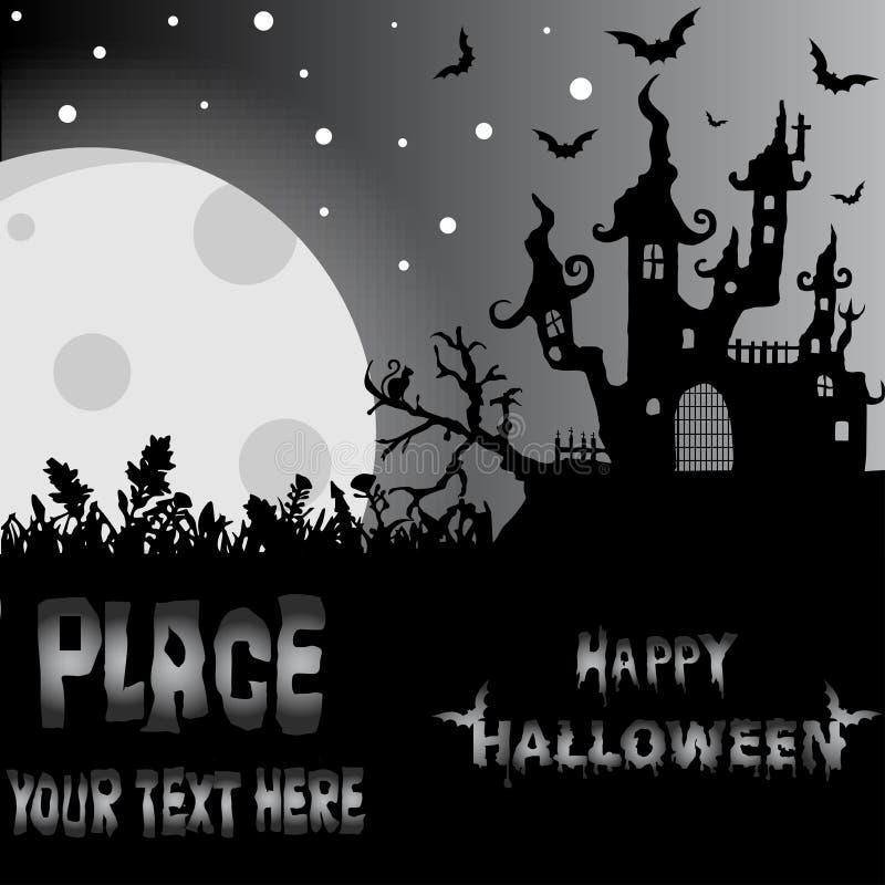 Fond de Halloween avec la Chambre et les battes rampantes, sur le fond MOIS illustration de vecteur