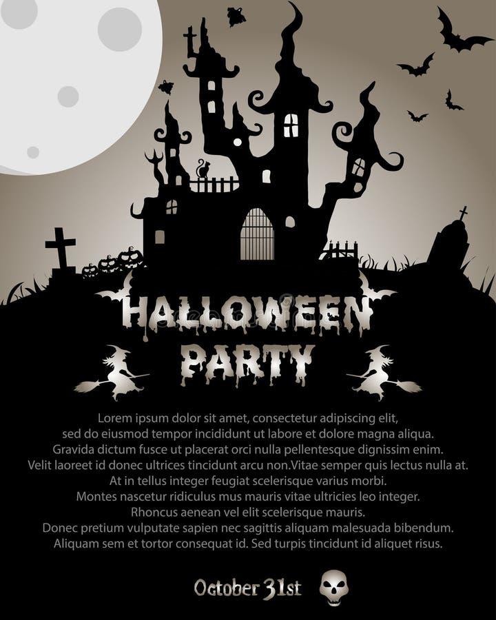 Fond de Halloween avec la Chambre et les battes rampantes, sur le fond MOIS illustration libre de droits