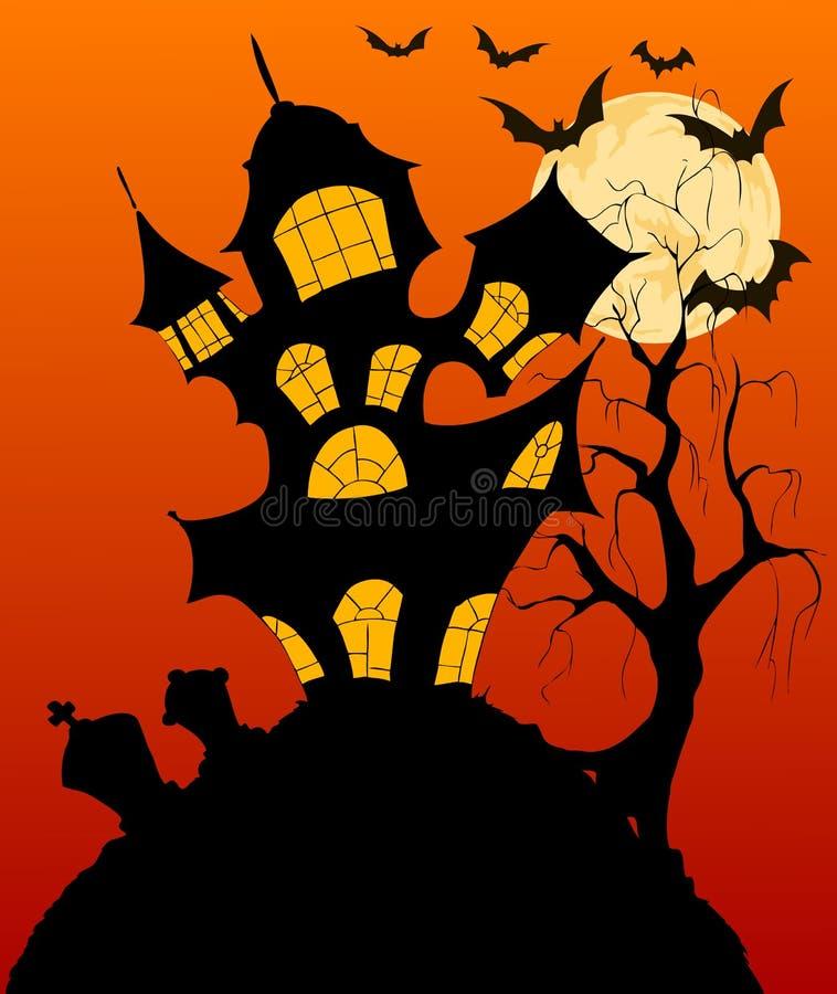 Download Fond De Halloween Avec La Maison Hantée Fantasmagorique Illustration de Vecteur - Illustration du automne, cartoon: 45356726