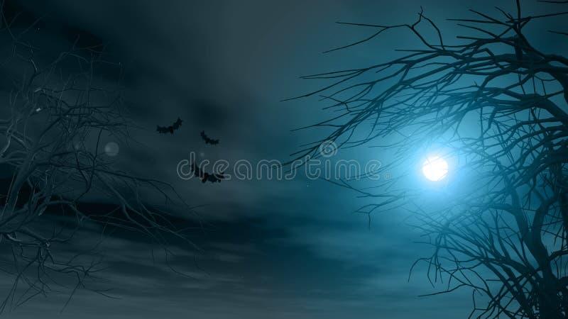 Fond de Halloween avec les arbres fantasmagoriques illustration libre de droits