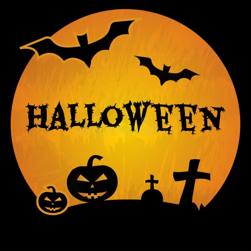 Fond de Halloween avec les battes, la tombe, les croix, les potirons et l'inscription noirs Halloween Vecteur illustration stock