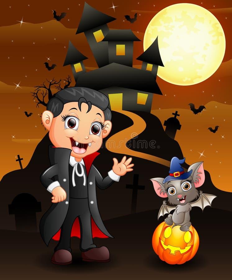 Fond de Halloween avec les chauves-souris et le garçon heureux Dracula d'enfant de sorcière illustration stock