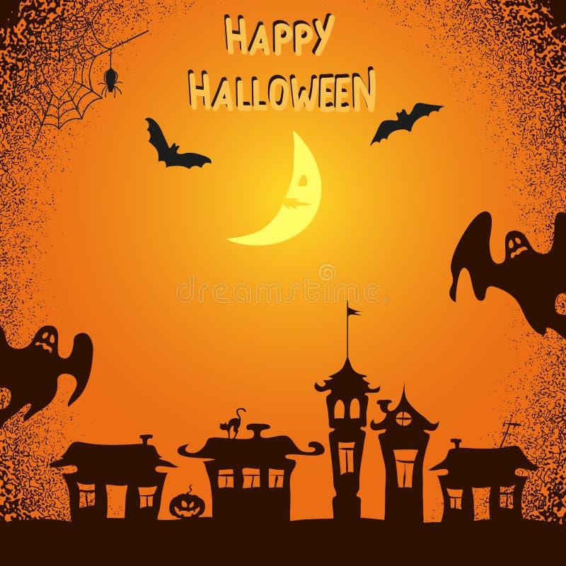 Fond de Halloween avec les fantômes, les battes et la lune rampants illustration libre de droits