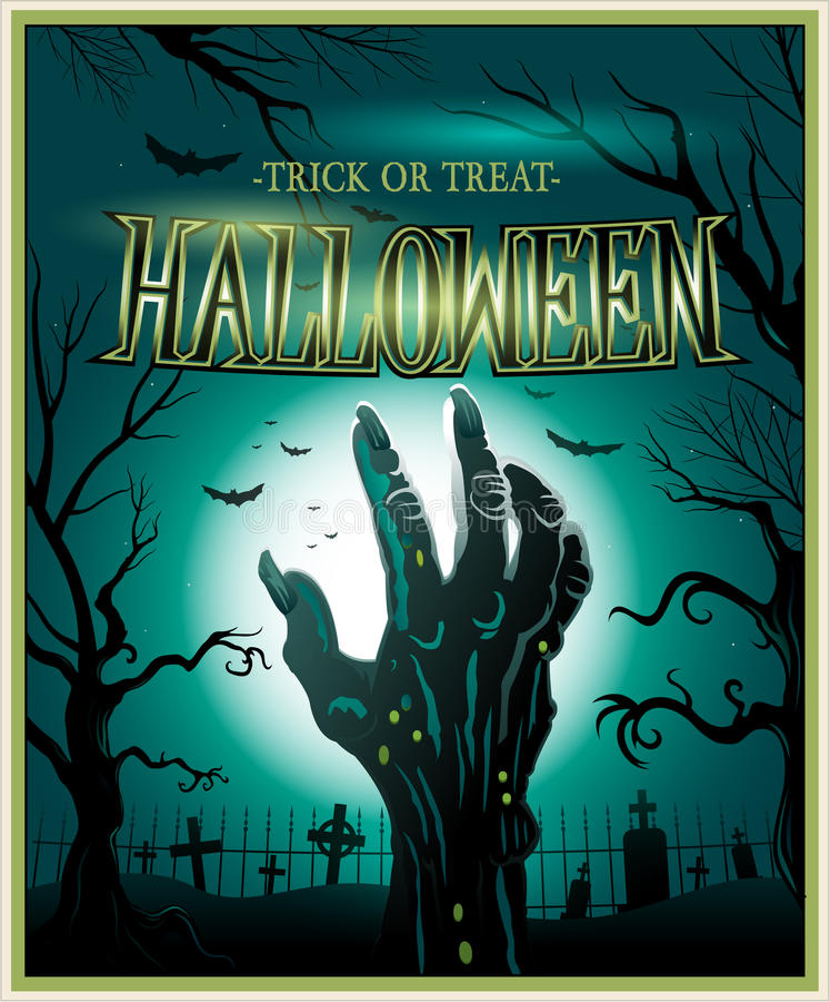Fond de Halloween de vert de main de monstre de zombi illustration de vecteur