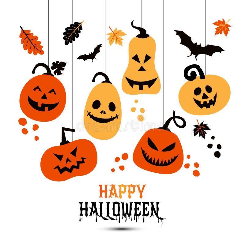 Fond de Halloween des potirons gais de couleurs Illustration de vecteur illustration libre de droits